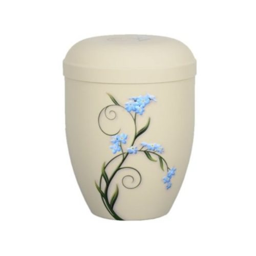 Urne funéraire fleurs bleues biodégradable