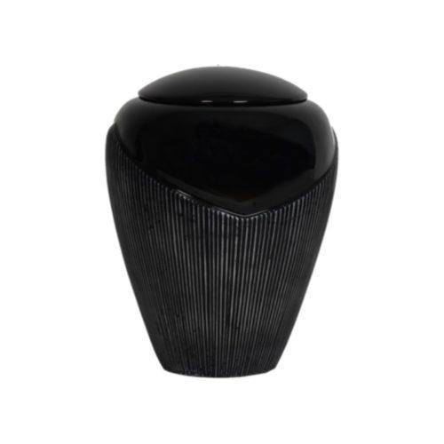 Urne funéraire striée noire